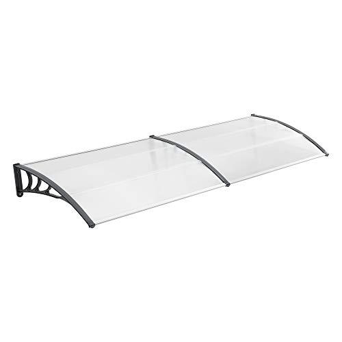 [en.casa] Marquesina para Puertas 240 x 100 cm Tejadillo de Protección de ABS Techo para Jardín Terraza Patio Balcón Parasoles Sombrilla Exterior Gris y Transparente