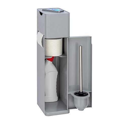 WENKO Stand WC-Garnitur Imon 6 in 1, mit integriertem Toilettenpapierhalter, WC-Bürstenhalter, Ersatzrollenhalter, Stauraumfächer und Ablage, solider Kunststoff, 20 x 58,5 x 15 cm, Grau mattiert
