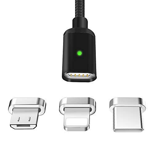 LAMA Magnetisches USB Ladekabel 2,1A Datenkabel 1,5M Magnet Kabel High Speed Sync und Schnellladekabel mit Blitz Type C Micro USB Magnetstecker für Phone Android Windows Phone Schwarz