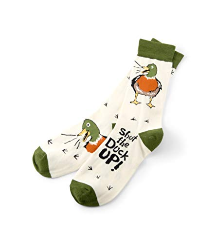 Little Blue House by Hatley Men's Crew Socks, Shut The Duck Up, One Size Fits Most