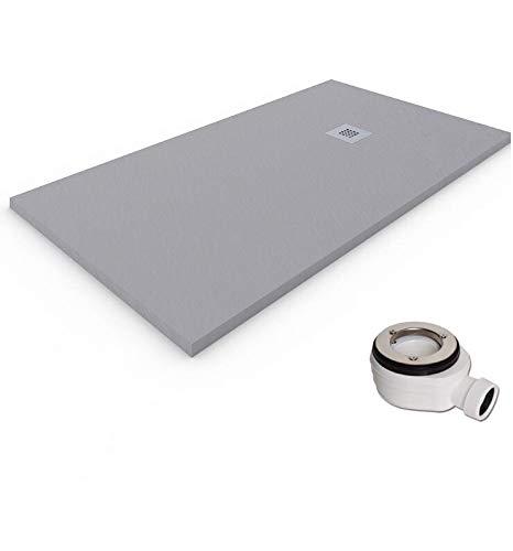 Plato de ducha de resina-antideslizante-textura pizarra-ral7030 (70x120, gris claro)