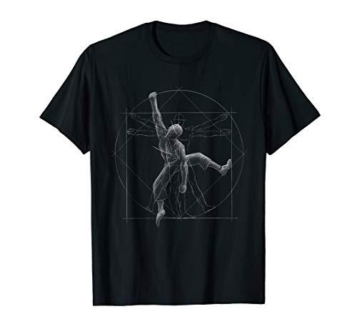 Freeclimber Vitruvianischer Mensch Klettern Bouldern T-Shirt