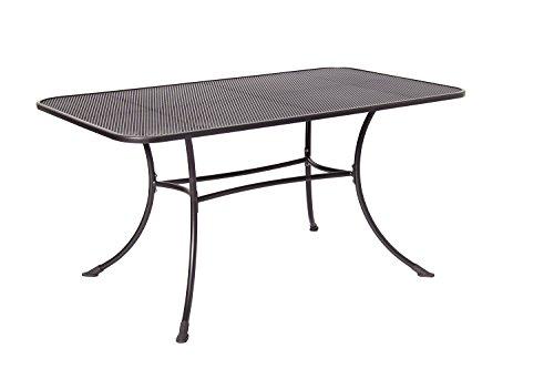 Acamp Gartentisch Strada | Streckmetalltisch, Maße 140x90x72 cm | Gestell aus Stahlrohr | Tischplatte aus stabilem Streckmetall | wetterfeste Nanotech-Beschichtung, optimierter Rostschutz | Anthrazit