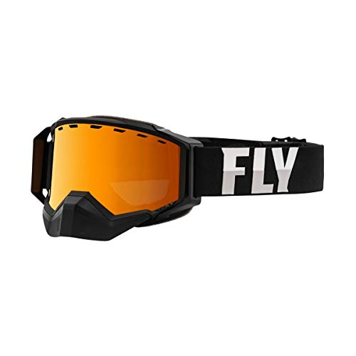 Fly Racing Zone Pro Adult Snowmobile Goggles - Black/Grey/Orange Mirror/Polarized Smoke/One Size