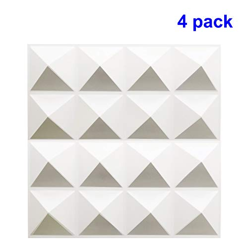 TroyStudio Acoustic Sound Diffuser Panel - Multiple Colors, 12'' X 12'' X 1'', PACK of 4 (White)