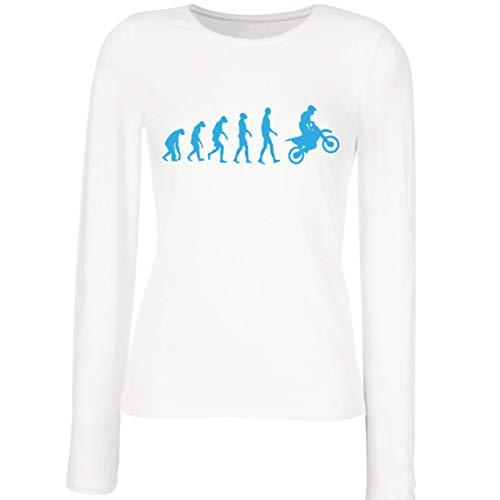 lepni.me Camisetas de Manga Larga para Mujer Evolución del Motocross Equipo de Moto Ropa de Carreras Todoterreno (Small Blanco Azul)