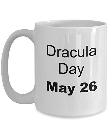 May 26 - Taza de té de cerámica blanca Drácula Day - 11 oz