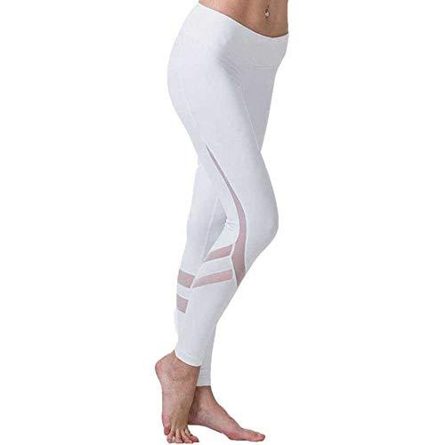 TANXM Pantalones De Malla De Yoga para Mujer Legins Blancos Ropa Deportiva para Gimnasio Ropa Deportiva Leggings Deportivos Elásticos Pantalones De Secado Rápido Pantalones