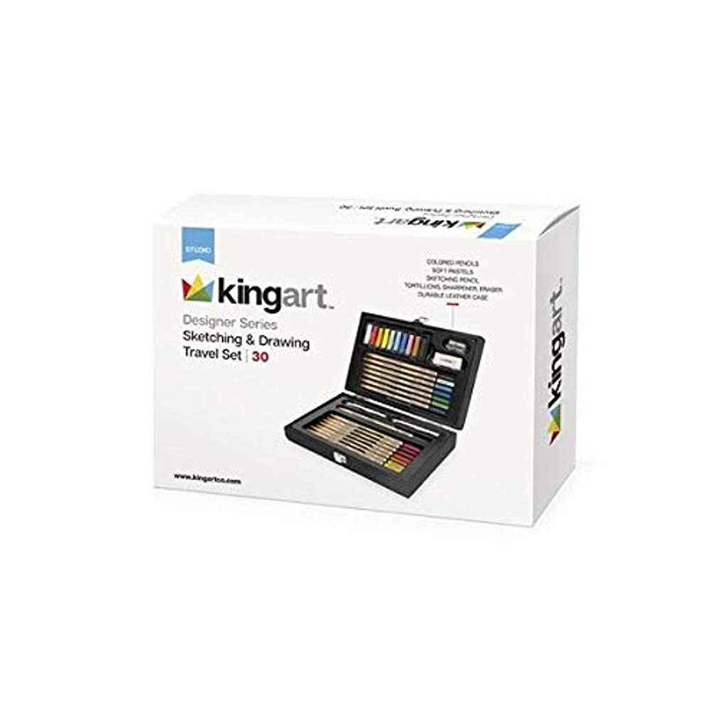 KINGART 104 Designer Series, Sketch & Draw Travel Art,  Set of 30, Leather Storage Case, Silver Hinges/Clasp