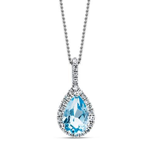 Miore - Collana da donna in oro bianco 9 carati 375 con ciondolo con topazio blu e diamanti 0,06 ct, lunghezza 45 cm