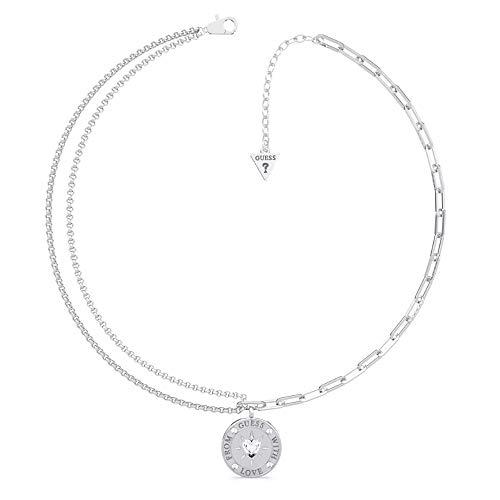 GUESS GUESS Halsband mit der Liebe aus UBN70000 Edelstahl rhodiniert Herz Swarovski Währung