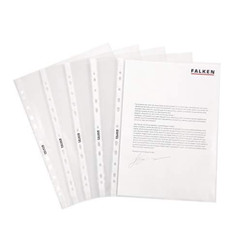 Original Falken 100er Pack Economy PP-Kunststoff Prospekthüllen. Für DIN A4 transparent glasklar oben offen Klarsichtfolie Plastikhülle Klarsichthülle ideal für Ordner Ringbücher und Hefter