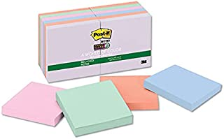 Post-it Notes, Super Sticky Pad, 3 Inches x 3 Inches, Recycled, Assorted Nature's Hues Colors, 12 Pads per Pack (colors vary)