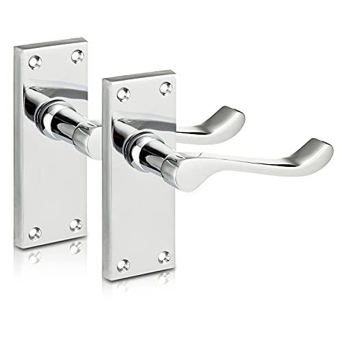 XFORT® Lever Latch Scroll Polished Chrome Door Handles, Elegant Door Handle Set for Wooden Doors, Classic Victorian Curved Handle Design, Ideal for All Types of Internal Doors [1 Pair]