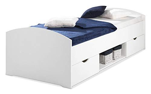 Nicht Zutreffend Kojenbett Bettgestell Einzelbett | 90x200 cm | Weiß | 2 Schubladen