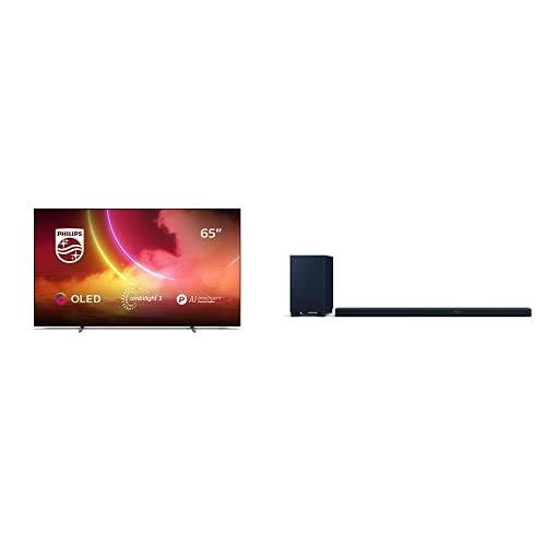 Philips 65OLED805/12 65-Zoll 4K UHD OLED TV mit Ambilight (P5 AI Engine, Dolby Vision∙Atmos, Sprachassistent, Android TV) mit Soundbar B97/10 inkl. Subwoofer (888 W, IMAX Enhanced) Mattgrau