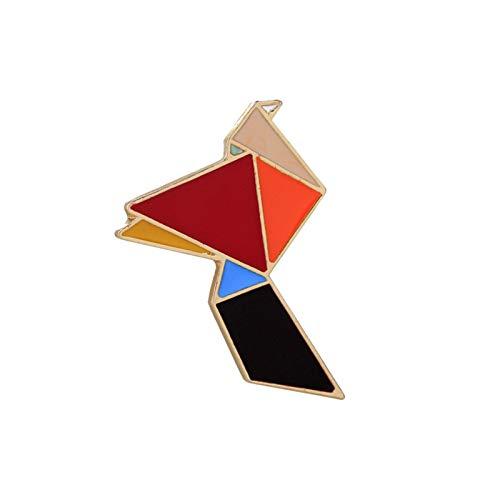 JSJJARD Broche Pines Geométricos Dibujos Animados Origami Animales Broches Badges Chaquetas Camisa Metal Solapa Pin Bag Accesorios (Metal Color : Crane)
