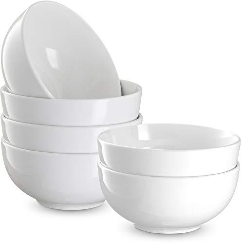 Tazones de cereales, por Kook, cerámica Make, con capacidad para 24 onzas, perfectos para sopa, postres, ensaladas, avena, juego de 6, color blanco