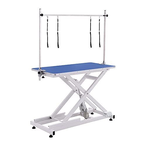PAMPELLYA Electric Lifting Dog Grooming Table, 46 Inch Heavy Duty Hydraulic Grooming Table for Pets, Maximum Capacity Up to 220lbs, Anti-Skid Rubber Desktop with Adjustable Arm (Blue, DF805)