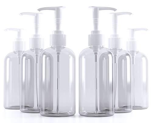6 botellas vacías de plástico transparente de 8 onzas, botellas vacías con dispensador de bomba para champú, loción, desinfectante, jabón líquido o gel de limpieza