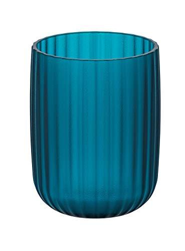 WENKO Zahnputzbecher Agropoli Petrol - Zahnbürstenhalter für Zahnbürste und Zahnpasta, Kunststoff, 7.5 x 10 x 7.5 cm, Petrol