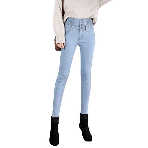 Pantalones Vaqueros Pitillo Ajustados con Control de Barriga de Cintura Alta para Mujer Pantalones Vaqueros elásticos con Cintura elástica de un Solo Pecho 28