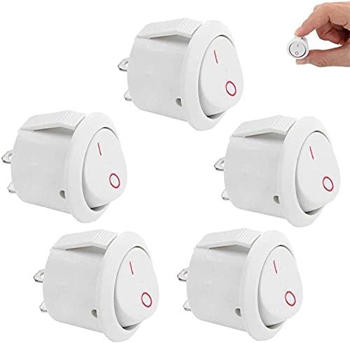 Lifeyz 5 Piezas 14 mm Orificio de Montaje Labio pequeño Blanco SPST Interruptor basculante Redondo 2 Pines ON-Off (Color: 5 Piezas Negro) (Color : 5pcs White)