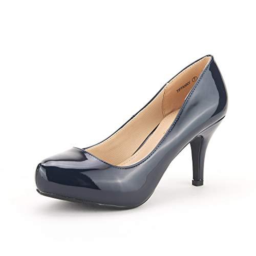 DREAM PAIRS Tiffany Women's New Classic Elegant Versatile Low Stiletto Heel Dress Platform Pumps Shoes Navy-Patent Size 5
