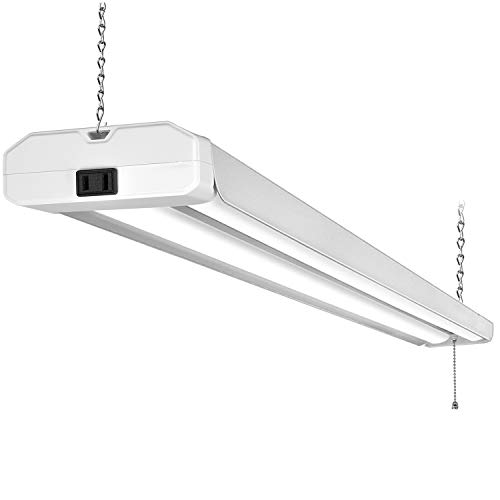 5000K LED Shop Light Linkable, 4FT Daylight 42W LED Ceiling Lights for Garages, Workshops, Basements, Hanging or FlushMount, with Plug and Pull Chain, 4200lm, ETL- 1 Pack