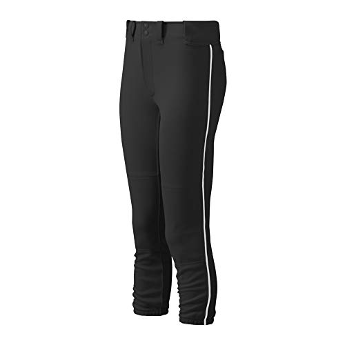 Mizuno Adult Women's Belted Piped Fastpitch Softball Pant, Black-White, Small
