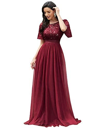 Ever-Pretty Robe de Demoiselle d'honneur Col Rond Manches Courtes Taille Empire A-Line Tulle Longue Femme Bordeaux 36