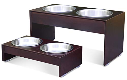 PetFusion Elevated Dog Bowls - Premium Anodized Aluminum Feeder (Tall 8'). Us Food Grade Stainless Steel Raised Bowls