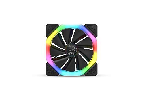 Nox Hummer S-FAN -NXHUMMERSFAN- Ventilador PC 120 mm, doble anillo LED ARGB Rainbow, pads de goma antivibración, gran flujo de aire, 3 pines, color negro