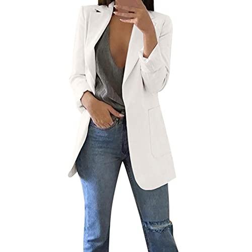 Blazer de longitud media para mujer, casual, color blanco, con un botón, de manga larga, para negocios, casual, para primavera, Blanco, M
