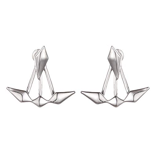 Pendientes/Aros/Bisutería/Cierre presión/De anzuelo/De clip/Dobles/Ear jacket/Piercing de oreja/Moda Clavo saliente doble oido Pendientes asimétricos romboide,Plateado