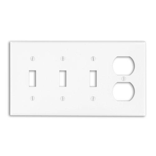 Leviton P38-W 4-Gang 3-Toggle 1-Duplex Device Combination Wallplate, Standard Size, White