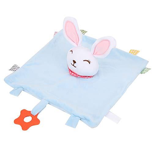 Toalla cómoda sin olor, sin pelusa, de mano de obra fina, con diseño de mordedor, para calmar y apaciguar, para bebés que juegan en casa(Toalla Calmante Conejito Azul)