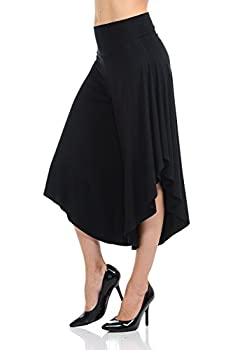 JDJ CO Women s Layered Wide Leg Flowy Cropped Palazzo Pants 3/4 Length High Waist Palazzo Wide Legs Capri Pants