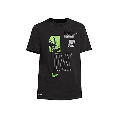 NIKE M Nk Dfc tee JDI Plate Wash Short Sleeve T-Shirt, Hombre, Black/Volt, L