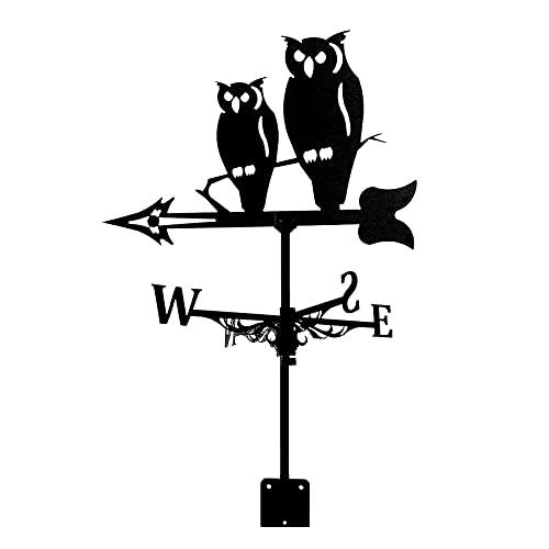 YDYBY Strumento di misurazione della banderuola Banderuola segnavento in Acciaio Inossidabile Indicatore di direzione della banderuola del Gufo per l'ornamento del Cortile del Giardino