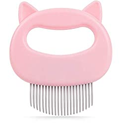 Cat Massage Comb for Painless Deshedding, Pack of 1, Cute Cat Shell Comb for Cat Grooming, Dynamic Colors including Sea Green, Sky Blue & Baby Pink