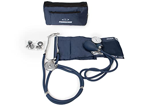 Primacare DS-9181-BL Professional Aneroid Sphygmomanometer and Sprague Rappaport Stethoscope, Manual Blood Pressure Kit with Cuff and Carrying Case, Blue
