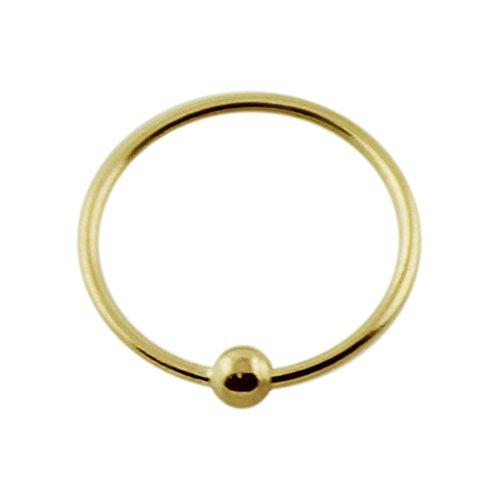 9K amarillo oro calibre 22 - 8MM longitud perla en cautiverio anillo d