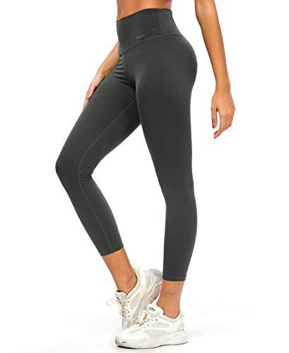 QUEENIEKE Yoga Leggings for Women High Waist Yoga Pants with Pockets Tummy Control Tights Buttery-Soft for Yoga XL Meteorit Grau