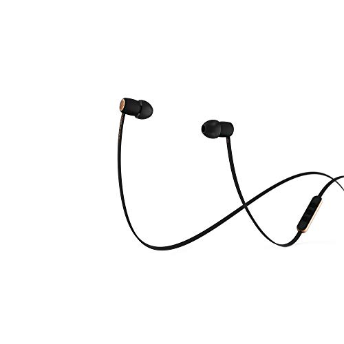 JAYS Auriculares In-Ear Stereo - a-One - Negro/Oro - Auriculares con Control de Volumen, micrófono y Cable Plano antienredos