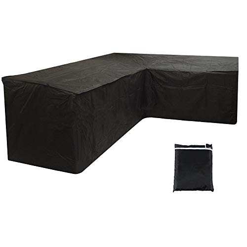 willkey L Shape Dining Set Cover Patio Waterproof Dustproof Garden Outdoor Furniture Sofa Protector With Storage Bag for Moving or Sunscreen (300x300x90CM, Black)