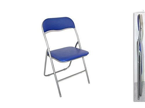 DUE ESSE Sedia Pieghevole Imbottita Struttura in Metallo per casa e Campeggio sedie Blu