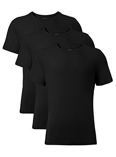 DAVID ARCHY Men's 3 Pack Soft Comfy Bamboo Rayon Undershirts Breathable Crew Neck Tees Short Sleeve T-Shirts (XL, Black)