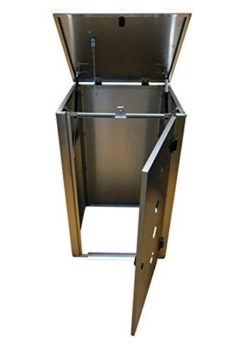 Mülltonnenbox Edelstahl, Modell Eleganza Raut als Dreierbox für drei 240 Liter Tonnen - 4