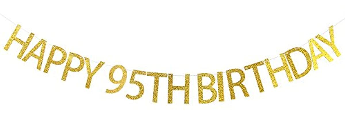 WeBenison Happy 95th Birthday Banner Gold Glitter Cheers to 95 Years - 95th Birthday Party Decorations Supplies